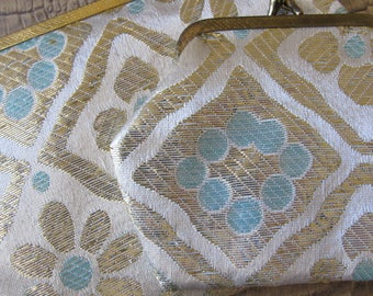 """MOD Glamour 1960's Style Lame Fabric Cosmetics Bag & Change Purse. Metallic Gold and Silver, Pale """"Something Blue"""" Snap Pouches Handbags"""