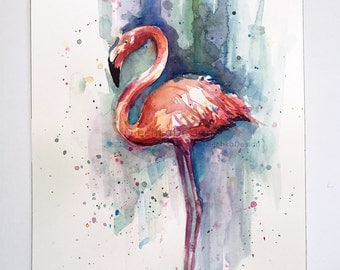 Pink Flamingo Watercolor Painting, Flamingo Painting, Original Flamingo Art, Tropical Bird Art by Olga Shvartsur, Flamingo Illustration 9x12