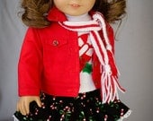 Candy Canes for Christmas - 18 Inch doll Jacket, Skirt, Tee, Knitted Hat and Scarf and Leggings
