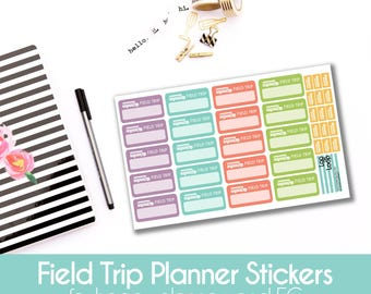 Field Trip School Bus Planner Stickers  - 35 stickers for MAMBI Happy Planners or Erin Condren Life Planner