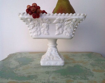 Westmoreland 1950's Milk glass compote with grape and grape leaf pattern