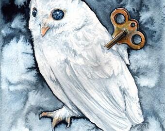 Clockwork Sentinel: Fine Art Watercolour Owl Print