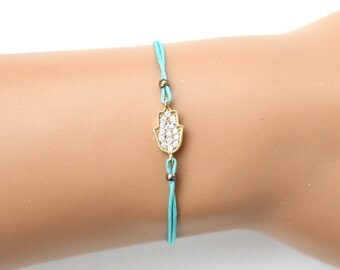 Gold hamsa bracelet, hand of fatima bracelet, string bracelet, turquoise string bracelet, protection bracelet, christmas gift