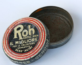 Shoe shine tin, vintage Italian 'Rob'