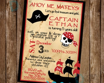 Pirate Birthday Invitation - Pirate Ship Birthday Invitation - Pirate Birthday Invite - Pirate Invitation - Pirate Party Idea - Pirate Party