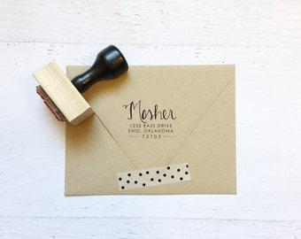 Cadeaux de timbre - la Mosher - adresse calligraphie personnalisé, mariage, bal de graduation, Merci - bois monté avec poignée OU auto-encreurs