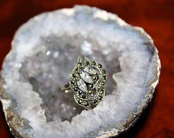 SALE! Vintage Sterling Silver Marcasites Cubic Zirconia Dazzling Exquisite Ring RG3