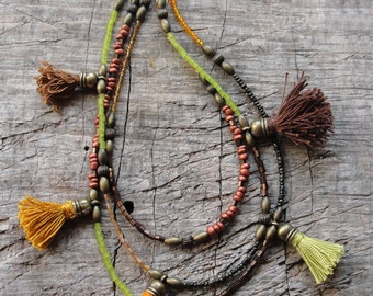 Bohemian Multi Layer Tassel Necklace Bohemian Dreams, Shades of Brown, Green and Orange, Glass and Brass with Tassels
