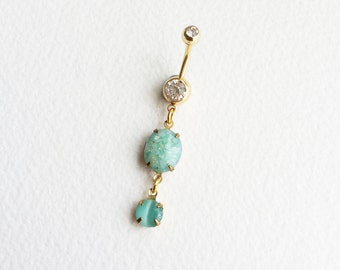 mint belly button ring, tiger eye, gold belly ring, green belly ring,Belly button ring,bellybutton ring,mint pastel jewelry accessories