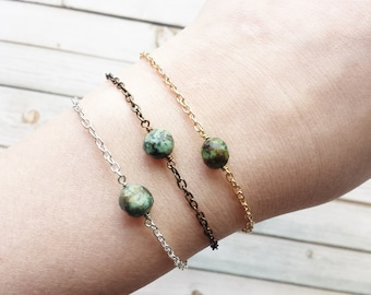 Dainty Turquoise Bracelets | Simple Crystal Bracelets | Turquoise Bracelet | Raw Crystal Bracelet | Bridesmaid Gifts | Minimalist Jewelry |