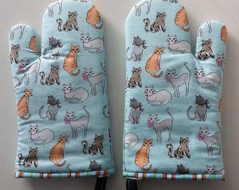 Mother's Day Gift Cat Oven Mitts, Insulated Oven Mitts, Cookware, Kitchen, Chef
