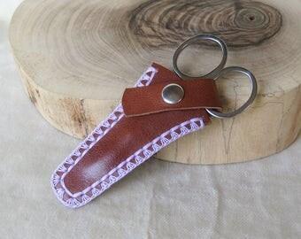 Little brown leather Scissor Case 8cm/3ins - purple crochet border - snap fastener - option complete Set: Pouch + little manicure scissors