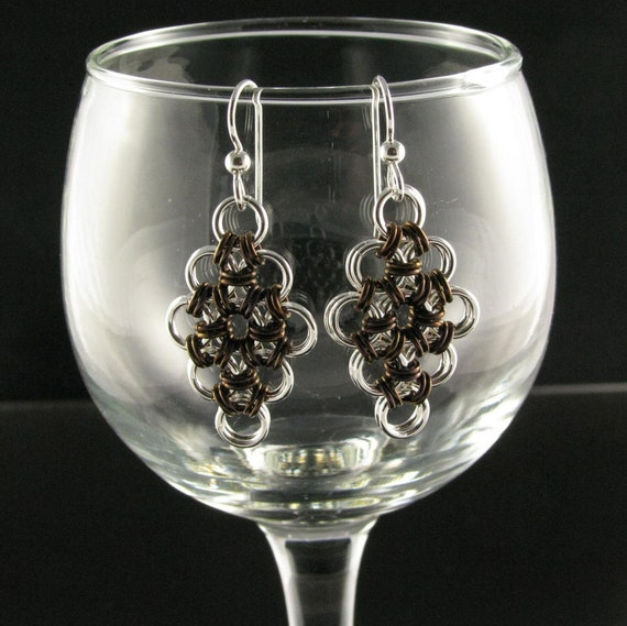 Assorted colors silver fill and anodized niobium Japanese chainmaille earrings