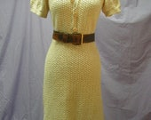 vintage 50's hand crochet cotton dress lt yellow puff sleeves sm-med knit dress hand made