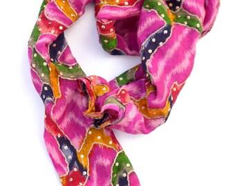 pink hair wrap, ikat head scarf, silk infinity head wrap, hair tie pink silk turban, tube scarf, colorful head scarves, hippie scarfs