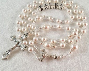 Communion Rosary Beads, Personalized Rosary, Christening, Baptism, Confirmation, Catholic Custom Name Rosary, Swarovski White Pearl (1B)