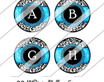 Blue Damask Digital Collage Sheet, One Inch Circles, Instant Download, Damask, Image, Blue, Black and White, Inchies, Bottle Cap Images