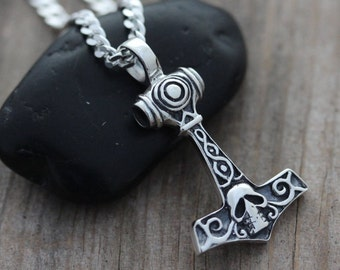 Sterling silver Thor Hammer necklace, Mens necklace. Skull thor hammer Jewelry, neckchain, mens necklace, Man  ,mjolnir, nordic, norse