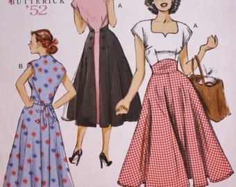 Butterick B6212 / Pullover Back Wrap Dress Sewing Pattern / Butterick Reissue 50s Vintage Pattern / UNCUT / Factory Folded