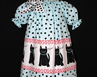 Cat dress peasant style size 3 available and ready to ship MADE in the USA