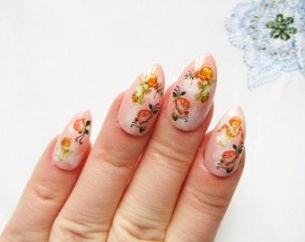 Pink Angel Stiletto Nails, Fake Nails, False Nails, Acrylic Nails, Press on Nails, Almond Nails, Pretty, Roses, Flowers, Vintage