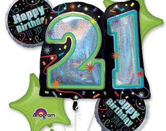 21st Birthday Balloons, 5 Piece Balloon Bouquet, 21 Birthday Balloons, Foil Balloon Bouquet, Birthday Party, RIP Fake ID