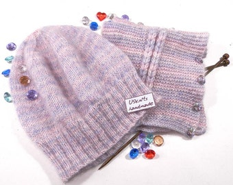 Knit mohair beanie - mohair neckwarmer - scarf with buttons - blue hat - blue scarf - scarf collar - gift for woman - pink hat - pink scarf