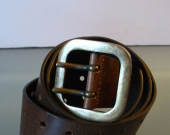 Vintage Made in Italy Heavy Leather Belt Size XL