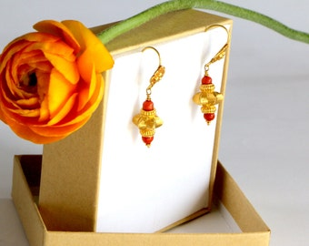 Boho Earrings / Gold Earrings Coral / Dangle Earrings / Gold Gypsy Earrings / Dangle Earrings  / Earrings For Women / Earring Gypsy / Gift