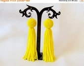 15% SALE Yellow beaded tassel earrings - Bright Sunny Fringe Statement Earrings - long tassle earrings - Dangle earrings - Beadwork tassel e