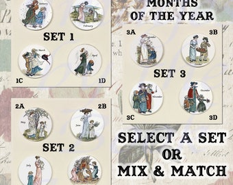 Button Magnets: Kate Greenaway's Almanac, A Set of Four Magnetic Pendants and Chain (Select a Set or Mix and Match)