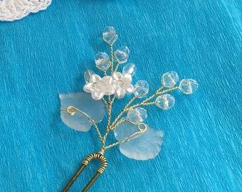 Bridal hair pin, wedding hair pins, crystal hair pin bridal, flower hair pins wedding, floral hair pin for wedding, wedding hair accessories