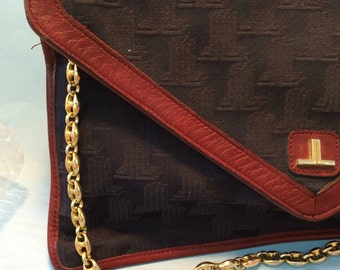 LANVIN VINTAGE BAG pochette  fabric and leather monogram 70's