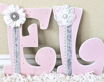 Custom nursery letters baby name wooden wall by theruggedpearl for Where to buy wooden letters for nursery