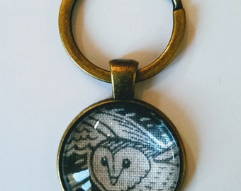 Owl Keyring, Gray Owl Keychain Pendant, Antique Bronze Glass Keyring, Bird Fabric Keyring