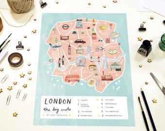 London Illustrated Map - British Art Print - City Map Poster