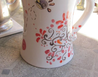 Whimsical bird mug, Hand painted ceramic mug, Red dots mug, 10 oz ceramic cup, Whinsical designs, Original Pottery,