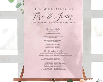 HUE MAUVE Watercolor Wedding Program Poster | Wedding Ceremony Poster| Printable Program Poster | Printed Wedding Poster| Watercolor Program
