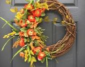 Spring Wreaths, Orange Wreaths, Spring Door Wreaths, Door Decor, Spring Wreaths Orange, New Home Gift, Gift for Her, Orange Door Wreaths