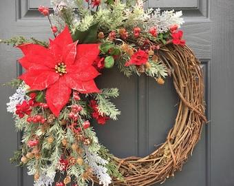 Christmas Poinsettia Wreath, Poinsettia Wreaths, Red Christmas Wreaths, Winter Wreaths, Gift for Her, Red Poinsettias, Holiday Decor