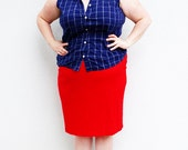 Plus Size - Vintage Navy Plaid Sleeveless Button Front Blouse (Size 16W)