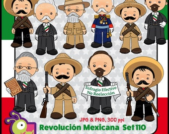 60% off Mexican Revolution Day Clipart, México clipart, school clipart, illustrations November 20th 1910, Set 110