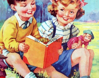 Retro Children Reading Book Illustration Digital Image Download Printable 350 DPI