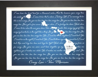 Personalized couples gifts, christmas gift, wedding gift, custom song lyrics state, destination wedding gifts, Any Or maui hawaii map art