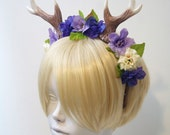 """4"""" Antlers Headband / Purple, Lavender, and Cream Flowers / Deer Costume / Ready to Ship"""