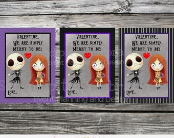 Instant Download, Printable Valentine Cards, Nightmare Before Xmas Valentine's Day Cards, Classroom Cards, Kids Valentine Cards, Jack Sally