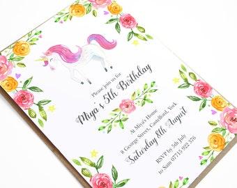 Unicorn Invitation, Unicorn Birthday Invitation, Girls Birthday Party Invitation, Watercolour Flowers, Pink Birthday Invite