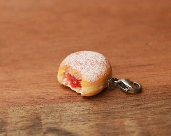 Pink, red or yellow Jelly Doughnut Jammy donut charm - food jewelry, donut charm, jelly donut charm, jam donut, jam donut charm