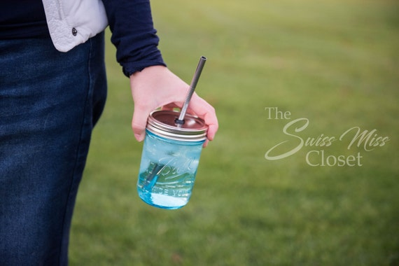 Mini Clear Blue Pint Size Mason Jar To Go Cup With Stainless Steel Straw 16oz Eco Friendly