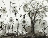Surreal Art, Ink Painting, Surreal Landscape, Ink Landscape, ink art, trees painting, ink flowers, ink drawing, ink art, surreal painting